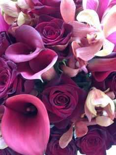 wedding bouquet orchids roses