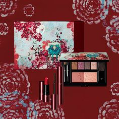 Kathe Fraga Art x Cle De Peau for the limited edition Holiday 2017 Makeup/Skinca. Drugstore Eyeshadow Palette, Lipstick Pictures, Berry Plants, Berry Lipstick, Berry Juice, Evening Makeup, Holidays 2017, Chinoiserie, Face And Body