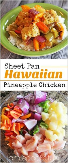 It's no secret that I am in love with Sheet Pan dinner recipes. I love the ease of cooking both protein and veggies on two large sheet pans. Not only does it allow for easy prep, easy clean u… dinner clean eating Sheet Pan Hawaiian Pineapple Chicken Clean Eating Recipes For Dinner, Healthy Dinner Recipes, Cooking Recipes, Cook Dinner, Eating Clean, Pineapple Dinner Recipes, Cooking Ribs, Paleo Dinner, Cooking Corn