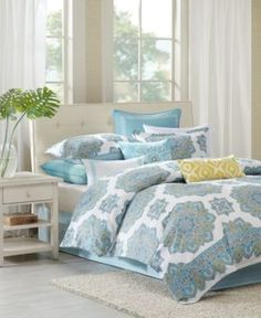 Echo Indira Aqua Twin Comforter Set - Blue