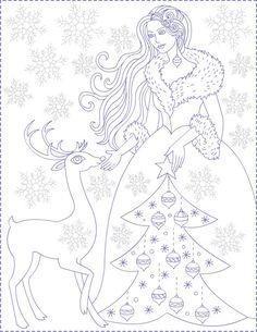 Winter Princess - coloring page * Printesa Iernii -desen de colorat Princess Coloring Pages, Coloring Book Pages, Coloring Sheets, Christmas Colors, Christmas Art, Winter Princess, Colouring Pics, Christmas Drawing, Christmas Coloring Pages