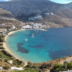 Incredible Aegialis beach , at Amorgos island (Αμοργός). Natural beauty in combination with traditional Cycladic architecture makes it unforgettable ! Cyclades Islands, Cyclades Greece, Greece Islands, Beautiful Ocean, Beautiful Islands, Beautiful Places, Paros, Myconos, Mykonos Island