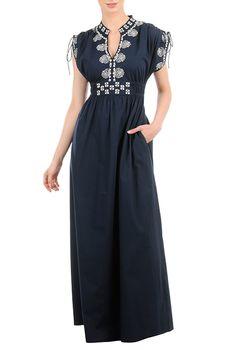 I <3 this Floral embellished poplin maxi dress from eShakti
