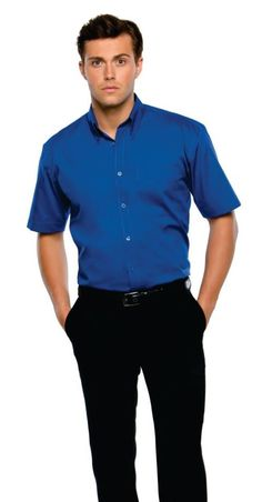 A blue shirt looks great with a black pants.