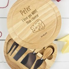 A wooden cheeseboard engraved with a (personalized) message of love. | 28 Gifts To Make Any Cheese Lover's Dreams Come True