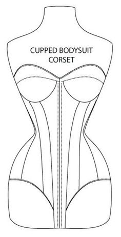 Cupped Overbust Bodysuit Corset Pattern by Sin & Satin Size Motif Corset, Corset Sewing Pattern, Bra Pattern, Bodysuit, Spring Steel, Overbust Corset, Pdf Patterns, Fashion Fabric, Digital Pattern