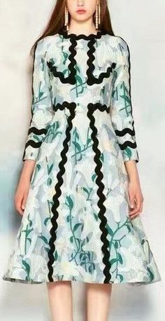 A-Line Lily Printed Dress with Squiggle Piping