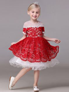 Shop online two tune white and red lace pageant dress with short sleeves for less. Free Shipping and Custom-made. Pro since 2009.