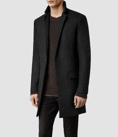 Mens Jasper Coat (Charcoal) | ALLSAINTS.com