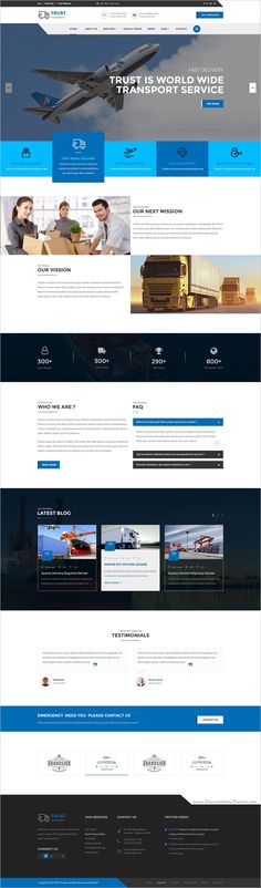 Trust transport is a clean and minimal design #Photoshop template for #webdesign transportation and #logistics companies awesome website download now➩  https://themeforest.net/item/trust-transport-transportation-and-logistics-psd-template/18947424?ref=Datasata