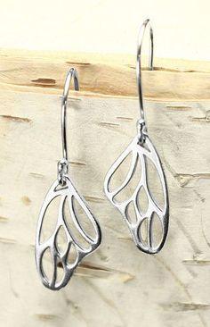 Butterfly Wing Dangle Earrings Silver