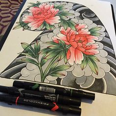 Day off doodles. Picked up some new prismsacolors, thought I would give them a whirl with this peony 1/2 sleeve layout. #japanesecollective #japanesetattoo #peonytattoo