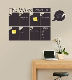 This could be cool for a home office or kitchen area. Those new chalk pens would make it easy to write on. :: 'This Week' Bubble Days Chalkboard Calendar Wall Decal - other styles available at Zulily today. Chalkboard Calendar, Calendar Wall, Office Calendar, Cool Office, Office Decor, Chalk Pens, Chalk Wall, Sign Solutions, Getting Organized
