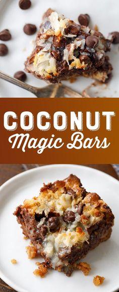 Coconut Magic Bars Recipe - Gooey Coconut Bars - Coconut Chocolate Dessert Bars #CoconutMagicBars #MagicBars #Coconut | Posted By: DebbieNet.com