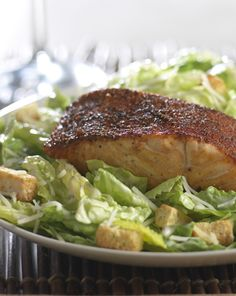 Blackened Salmon Caesar Salad-so fresh and delicious!