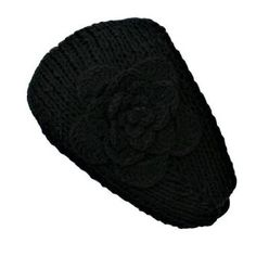 Black Hand Made Knit Headband With Flower Detail Luxury Divas. $8.00