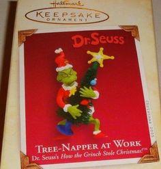 "2005 HALLMARK DR SEUSS ""TREE NAPPER AT WORK"" KEEPSAKE GRINCH ORNAMENT NIB"
