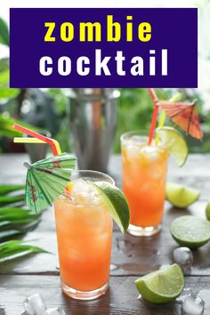 This Zombie cocktail from Bacardi rum is a great Halloween tradition. A fruit tiki drink with just the right amount of rum. It is easy to make and is perfect as a punch for parties. #zombiecocktail #halloweenparty #halloweendrink #tiki #recipe #rum #drink #cocktails Rum Cocktail Recipes, Drinks Alcohol Recipes, Cocktail Drinks, Drink Recipes, Halloween Party Appetizers, Halloween Drinks, Halloween Food For Party, Zombie Drink, Zombie Cocktail