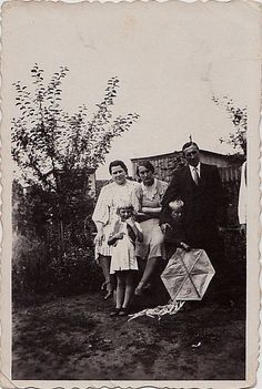 Old Vintage Antique Photograph Family With Little Boy Holding Kite