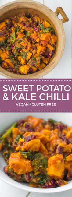 Vegan Sweet Potato and Kale Chilli,delicious flavours and healthy Recipe *for 4 2 Garlic cloves 2 large handfuls Kale 1 400 g tin Kidney beans 1 Onion 1 Red chili 1 400 g tin Tomatoes tsp Cayenne pepper tsp Cinnamon, ground 1 Salt & pepper 1 tbsp O Vegan Foods, Vegan Dishes, Vegan Lunches, Easy Vegan Lunch, Healthy Dishes, Sweet Potato Kale, Sweet Potato Vines, Sweet Potato Curry Vegan, Vegan Sweet Potato Recipes