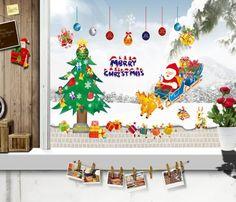 wall stickers -YYone Merry Christmas Santa Claus Sled Christmas Tree Decorative DIY Peel and Stick Wall Decal Decor