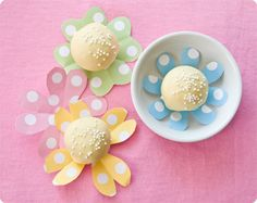 This project takes about an hour to do, not including baking your cake. It's pretty easy and with the help of some safety scissors, would be a great craft idea to do with your kids!  Plus, I think this little bouquet would look ADORABLE on an Easter kiddie table as a centerpiece AND dessert.  Easy peasy entertaining, it's a good thing. ;)