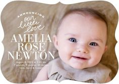 Our Little Love - Girl Photo Birth Announcements - Stacey Day - Tea Rose - Pink : Front