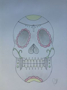 Candy Skull tattoo drawing