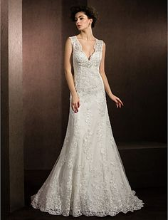 Sheath/Column V-neck Court Train Lace Wedding Dress - USD $ 329.99