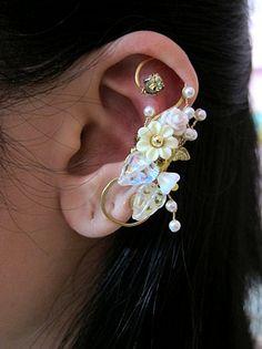 White Wrap Around Flowers And Bird Ear Cuff Woodland Gold Wings Free Elegant Feminine Bling Nature