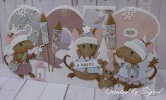 Deze muizen zijn alvast begonnen met het afsteken van het vuurwerk. Tja, je moet toch even kijken of ze wel echt zo mooi zijn als dat op de ... Christmas 2017, Christmas Cards, Marianne Design Cards, Bee Cards, Die Cut Cards, Card Making Techniques, Punch Art, Paper Piecing, Crazy Cats