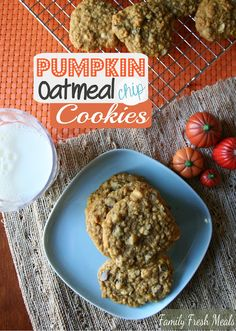 It's impossible to eat just one! Pumpkin Oatmeal DOUBLE Chocolate Chip Cookies