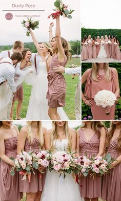 dusty rose and pink bridesmaid dresses and fall wedding inspiration