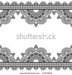 Seamless Pattern Indian mehndi border elements with flowers for card and tattoo. Illustration isolated on white background.
