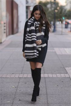 b8e16323c 34 Stylish Winter Outfits with Boots to Copy now 47 Vestido Com Botas, Moda  2018
