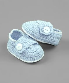 Love this Light Blue Crochet Booties by Pink and Blue Knitwear on #zulily! #zulilyfinds
