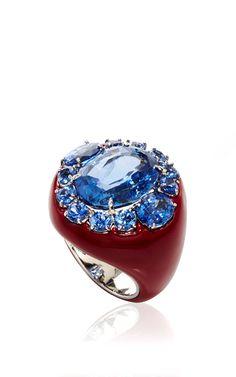 18 K White Gold And Bronze Ceylon Light Blue Sapphire Ring by SABBADINI for Preorder on Moda Operandi