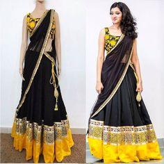 Semi-Stitched Wedding Wear Lehenga Choli  Size :Default Size : Free Size ( Semi-Stitched ) Last Stitchable Size upto : XL Waist Size Stitchable upto : 42 inch Bust Size Stitchable upto : 44 inch Lehenga Height Stitchable upto : 44 inch ( 4 Feet )  Material : Blouse - 0.80 mtr / Lehenga Length - 6.30 mtr / Dupatta - 2.50 mtr  Fabric :  Lehenga Fabric :  60gm Georgette  Blouse Fabric : Dhupian  Dupatta : Net  Colour : Yellow & Black  Work :  Embroidered  Border Work  Occasion : Party Wedding…