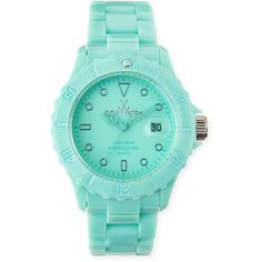 Toy Watch 39mm Plasteramic Watch, Aqua ($195) ❤ liked on Polyvore featuring jewelry, watches, accessories, bracelets, relógios, aqua, dial watches, bracelet watches, butterfly jewelry and geometric jewelry