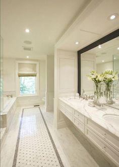 totally neutral; lighting, framed mirror
