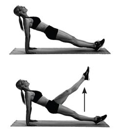 Reverse-plank leg raises: Sit with legs outstretched, hands behind hips, pointing toward feet. For reverse plank, press up onto hands and extend legs, with heels on floor. Raise and lower one leg. Do 10 to 12 reps. Switch sides.