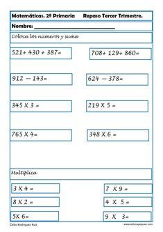 Ejercicios de Matemáticas Segundo PrimariaCalifica este post Fichas con ejercicios de matemáticas segundo primaria Vamos a repasar matemáticas en segundode Bar Chart, Acting, Classroom, Education, Math, Matilda, Writing Practice, Spanish Worksheets, Class Room