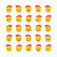 Round yellow Santa emoticon set isolated on notepaper background vector | premium image by rawpixel.com / wan Merry Christmas Sign, Christmas Icons, Christmas Stickers, Merry Christmas And Happy New Year, Beige Background, Background Patterns, Emoji, Reindeer Face