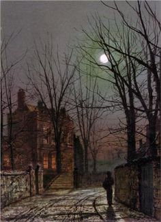 Moonlight - John Atkinson Grimshaw. reminds me of Shadow of The Wind by Carlos Ruiz Zaffron...great read