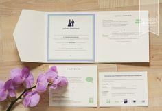 Einladungskarte zur Hochzeit, Pocketfold mit drei Einlegern. Mit Hochzeitslogo/Piktogrammen, individuelles Hochzeitslogo in Lila, Flieder und Mintgrün. www.die-edle-karte.de ©passion4paper