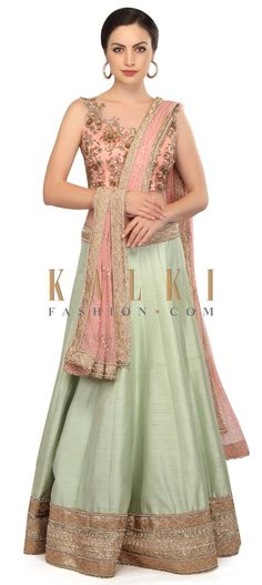 Mint lehenga with baby pink hand embroidered blouse only on Kalki Indian Look, Family Outfits, Embroidered Blouse, Salwar Kameez, Indian Outfits, Lehenga, Indian Fashion, Hemline, Fancy