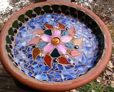 Sun Dance HandPieced Mosaic Bird Bath by ChristopherOchs on Etsy, $200.00