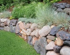 Stone Garden Wall Home Backyard Retaining Wall Pinterest