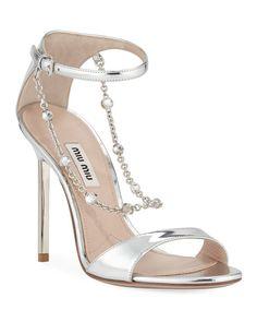 Miu Miu Metallic Sandals with Jeweled Chain Dr Shoes, Miu Miu Shoes, Me Too Shoes, Shoes Heels, Fancy Shoes, Pretty Shoes, Stiletto Heels, High Heels, Bridal Heels