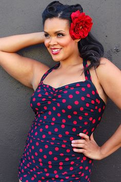 Plus Size Vintage Swimsuit 50's Style Pin Up BLACK with Red Polka Dot Bathing Suit - Unique Vintage - Prom dresses, retro dresses, retro swimsuits.